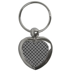 Woven2 Black Marble & White Leather (r) Key Chains (heart)  by trendistuff