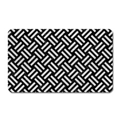 Woven2 Black Marble & White Leather (r) Magnet (rectangular) by trendistuff