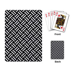 Woven2 Black Marble & White Leather (r) Playing Card by trendistuff