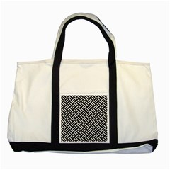 Woven2 Black Marble & White Leather (r) Two Tone Tote Bag by trendistuff