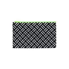 Woven2 Black Marble & White Leather (r) Cosmetic Bag (xs) by trendistuff