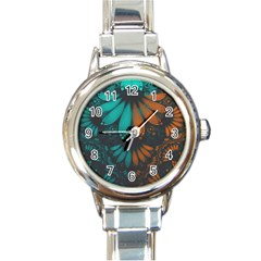Beautiful Teal And Orange Paisley Fractal Feathers Round Italian Charm Watch by beautifulfractals