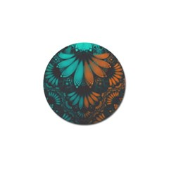 Beautiful Teal And Orange Paisley Fractal Feathers Golf Ball Marker by beautifulfractals