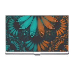 Beautiful Teal And Orange Paisley Fractal Feathers Business Card Holders by beautifulfractals