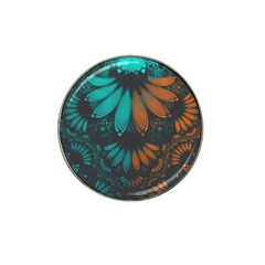 Beautiful Teal And Orange Paisley Fractal Feathers Hat Clip Ball Marker (4 Pack) by beautifulfractals