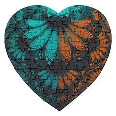 Beautiful Teal And Orange Paisley Fractal Feathers Jigsaw Puzzle (heart) by jayaprime