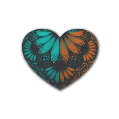 Beautiful Teal And Orange Paisley Fractal Feathers Heart Coaster (4 Pack)  by jayaprime
