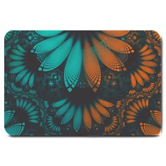 Beautiful Teal And Orange Paisley Fractal Feathers Large Doormat  by jayaprime