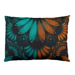 Beautiful Teal And Orange Paisley Fractal Feathers Pillow Case by beautifulfractals