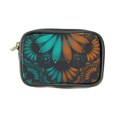 Beautiful Teal And Orange Paisley Fractal Feathers Coin Purse by jayaprime