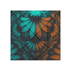 Beautiful Teal And Orange Paisley Fractal Feathers Acrylic Tangram Puzzle (4  X 4 ) by jayaprime