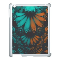 Beautiful Teal And Orange Paisley Fractal Feathers Apple Ipad 3/4 Case (white) by jayaprime