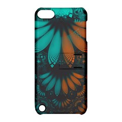 Beautiful Teal And Orange Paisley Fractal Feathers Apple Ipod Touch 5 Hardshell Case With Stand by jayaprime