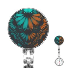 Beautiful Teal And Orange Paisley Fractal Feathers Stainless Steel Nurses Watch by jayaprime