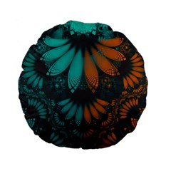 Beautiful Teal And Orange Paisley Fractal Feathers Standard 15  Premium Flano Round Cushions by beautifulfractals