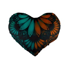 Beautiful Teal And Orange Paisley Fractal Feathers Standard 16  Premium Flano Heart Shape Cushions by jayaprime