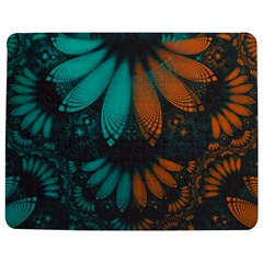 Beautiful Teal And Orange Paisley Fractal Feathers Jigsaw Puzzle Photo Stand (rectangular) by jayaprime