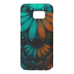 Beautiful Teal And Orange Paisley Fractal Feathers Samsung Galaxy S7 Edge Hardshell Case by jayaprime