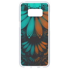 Beautiful Teal And Orange Paisley Fractal Feathers Samsung Galaxy S8 White Seamless Case by jayaprime