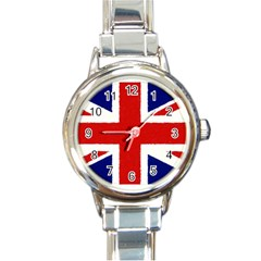 Union Jack Watercolor Drawing Art Round Italian Charm Watch by picsaspassion