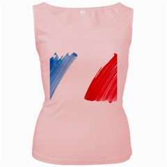 France Flag, Banner Watercolor Painting Art Women s Pink Tank Top by picsaspassion