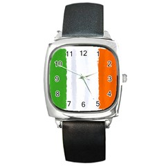 Flag Ireland, Banner Watercolor Painting Art Square Metal Watch by picsaspassion