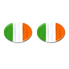Flag Ireland, Banner Watercolor Painting Art Cufflinks (oval) by picsaspassion
