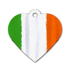 Flag Ireland, Banner Watercolor Painting Art Dog Tag Heart (one Side) by picsaspassion
