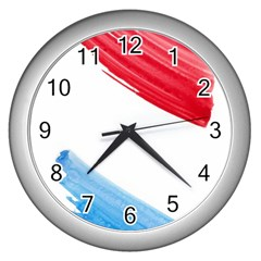 Tricolor Banner Watercolor Painting Art Wall Clocks (silver)