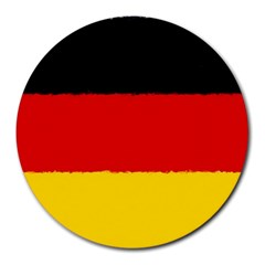 German Flag, Banner Deutschland, Watercolor Painting Art Round Mousepads by picsaspassion
