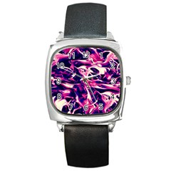 Abstract Acryl Art Square Metal Watch