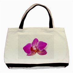 Lilac Phalaenopsis Flower, Floral Oil Painting Art Basic Tote Bag by picsaspassion