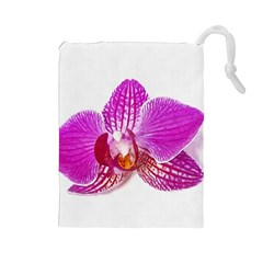 Lilac Phalaenopsis Flower, Floral Oil Painting Art Drawstring Pouches (large)  by picsaspassion