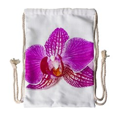 Lilac Phalaenopsis Flower, Floral Oil Painting Art Drawstring Bag (large) by picsaspassion