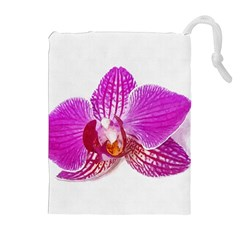 Lilac Phalaenopsis Flower, Floral Oil Painting Art Drawstring Pouches (extra Large) by picsaspassion