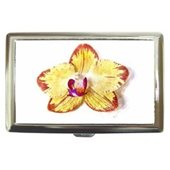 Yellow Phalaenopsis Flower, Floral Aquarel Watercolor Painting Art Cigarette Money Cases