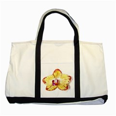 Yellow Phalaenopsis Flower, Floral Aquarel Watercolor Painting Art Two Tone Tote Bag by picsaspassion