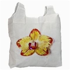 Yellow Phalaenopsis Flower, Floral Aquarel Watercolor Painting Art Recycle Bag (two Side)