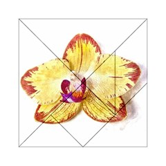 Yellow Phalaenopsis Flower, Floral Aquarel Watercolor Painting Art Acrylic Tangram Puzzle (6  X 6 ) by picsaspassion