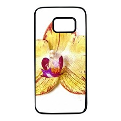 Yellow Phalaenopsis Flower, Floral Aquarel Watercolor Painting Art Samsung Galaxy S7 Black Seamless Case by picsaspassion