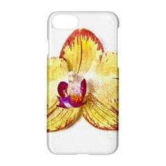 Yellow Phalaenopsis Flower, Floral Aquarel Watercolor Painting Art Apple Iphone 8 Hardshell Case by picsaspassion