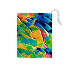 Abstract Acryl Art Drawstring Pouches (medium)  by tarastyle