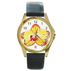 Phalaenopsis Yellow Flower, Floral Oil Painting Art Round Gold Metal Watch by picsaspassion