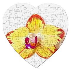Phalaenopsis Yellow Flower, Floral Oil Painting Art Jigsaw Puzzle (heart) by picsaspassion