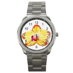 Phalaenopsis Yellow Flower, Floral Oil Painting Art Sport Metal Watch by picsaspassion