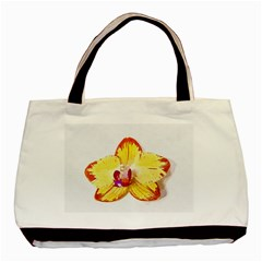 Phalaenopsis Yellow Flower, Floral Oil Painting Art Basic Tote Bag by picsaspassion