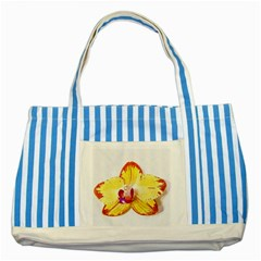 Phalaenopsis Yellow Flower, Floral Oil Painting Art Striped Blue Tote Bag by picsaspassion