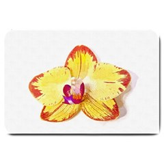 Phalaenopsis Yellow Flower, Floral Oil Painting Art Large Doormat  by picsaspassion