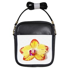 Phalaenopsis Yellow Flower, Floral Oil Painting Art Girls Sling Bags by picsaspassion