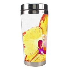 Phalaenopsis Yellow Flower, Floral Oil Painting Art Stainless Steel Travel Tumblers by picsaspassion